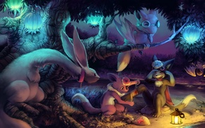 Picture forest, lights, help, Fox, lantern, Animals, ears, the bushes, tears