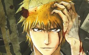 Picture look, face, blood, Bleach, Bleach, Ichigo Kurosaki, wounded, hands in hair, by Tite Kubo