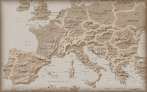 Wallpaper Europe, Map, Antique, The view from the top