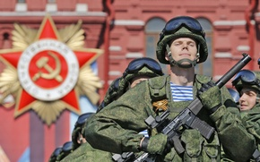 Picture USSR, Russia, May 9, fighters, special forces, pride, honor, Victory Parade, courage