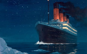 Picture cold, night, iceberg, Titanic