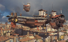Picture clouds, the city, home, ships, art, volatile, in the sky, ian mcque