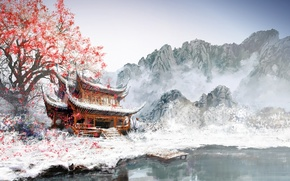 Picture Asia, snow, Marina, mountains, fog, the building, leaves, tree, lake, figure