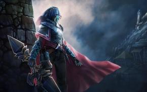 Picture girl, weapons, art, cloak, armor, Dota 2, Phantom Assassin, Mortred, linetype