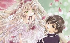 Picture flowers, beads, white dress, veil, art, wedding, gosick, victorica de blois, kujou kazuya, hinata takeda