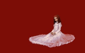 Picture Girl, red, sitting, white dress, red background