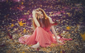 Picture autumn, girl, mood
