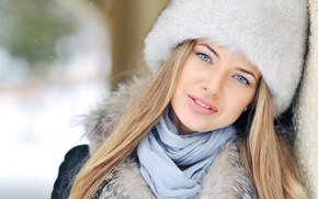 Picture winter, eyes, look, girl, snow, face, hat, hair, scarf, fur