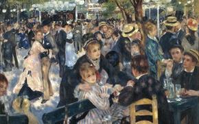 Picture glare, people, Paris, dance, restaurant, painting, France, art, impressionism, france, art, ball, paintings, Montmartre, impressionism, ...
