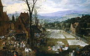 Picture trees, landscape, mountains, home, picture, genre, Jan Brueghel the elder, The bleaching of the Canvas …