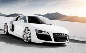 Picture white, the sky, mountains, Audi, Audi, tuning, supercar, drives, tuning, the front, V10, B10
