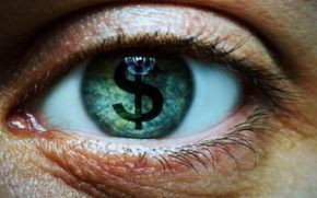 Picture eye, eyelashes, symbol money