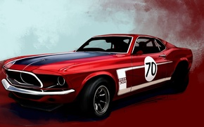 Wallpaper red, Boss 302, figure, Mustang, Ford