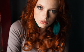 Picture look, girl, makeup, red, curls