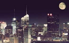 Picture night, the city, the moon, new York