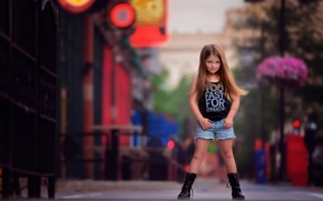 Picture street, girl, fashion, bokeh, child photography, photography and style, Looking like a big girl