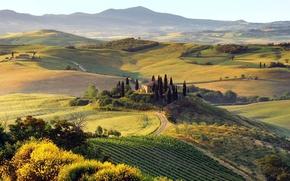 Wallpaper mountains, nature, home, trees, road, Landscape, hills, autumn