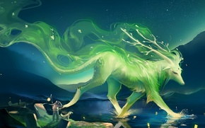 Wallpaper night, lake, hills, people, dog, art, lights, horns, beast, sakimichan