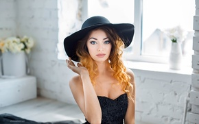Picture look, girl, flowers, face, sweetheart, model, portrait, hat, makeup, dress, light, red, beautiful, fashion, photographer, ...