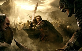 Picture war, The Lord Of The Rings, battle, fortress, swords, arrows, orcs, war, Rohan, Rohan, Middle …
