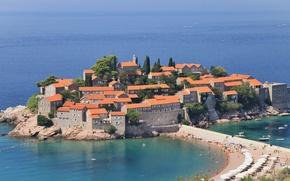 Picture sea, island-hotel, SV.Stefan, Montenegro, Jadran