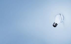 Picture light bulb, blue, minimalism