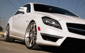 Picture white, Mercedes-Benz, white, AMG, the front part, Mercedes Benz, CLS-class, C218, CLS 63