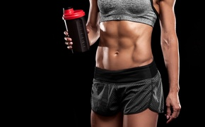 Picture women, fitness, abs, sportswear, physical activity, protein drinks, hydration