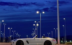 Picture the sky, night, Roadster, Mercedes-Benz, lights, AMG, SLS, Mercedes-Benz