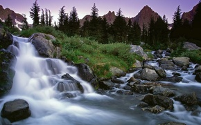 Wallpaper grass, trees, mountains, stones, waterfall