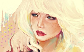 Picture face, lipstick, freckles, white hair, portrait of a girl
