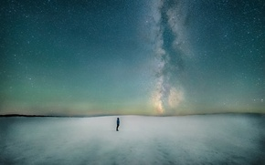 Picture winter, space, snow, galaxy, the milky way, North