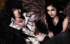 Picture girl, wings, art, guy, autumn, leaves