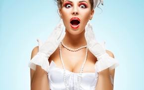 Picture girl, face, background, surprise, makeup, hairstyle, gloves, corset, brown hair, beauty, in white, facial expressions