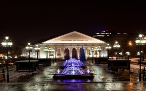 Picture light, night, the city, lights, Moscow, fountain, Museum