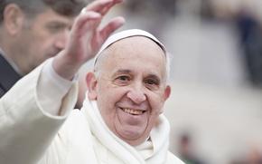 Picture Francisco, Pope Francis, Jorge Mario Bergoglio Sívori, smile, poses, white