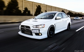 Picture turbo, white, mitsubishi, japan, jdm, tuning, lancer, evolution, evo, front, speed, face, low, stance, dapper