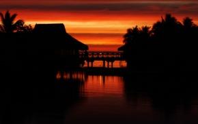 Picture sunset, tropics, Tahiti, moorea