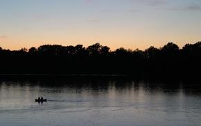 Wallpaper nature, boat, the evening, Volga, Uglich