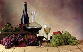 Wallpaper leaves, wine, glasses, grapes, bottle