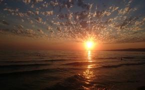 Picture sea, summer, the sun, landscape, sunset