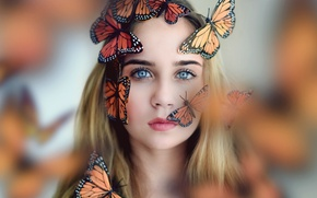 Picture look, girl, butterfly, mood, the situation, blue eyes, bokeh