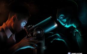 Wallpaper guy, alien, telescope