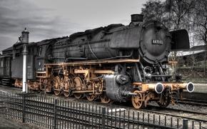Picture golden, black, train