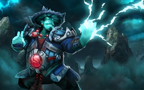 Picture rocks, zipper, hat, art, Dota 2, Storm Spirit