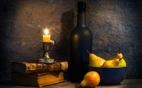 Picture books, bottle, candle, pear, Pearfect