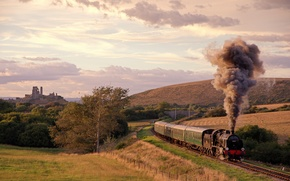 Picture the way, smoke, field, train, the engine, cars, railroad, UK, meadows, hill, the ruins of …