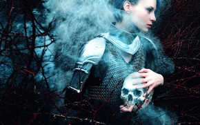 Picture girl, skull, armor, Kindra Nikole, Fox Chalker