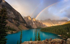 Picture forest, mountains, lake, rainbow, Canada, Banff National Park, Alberta, Canada, Moraine Lake, Valley of the …
