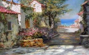 Picture sea, summer, the sun, shadow, house, Crimea, Miliukov Alexander